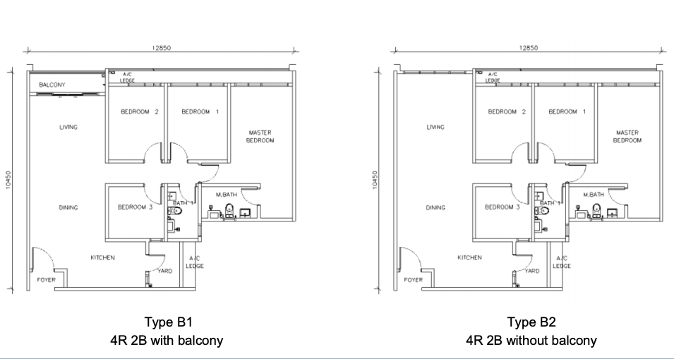 Type B (With/without balcony)
